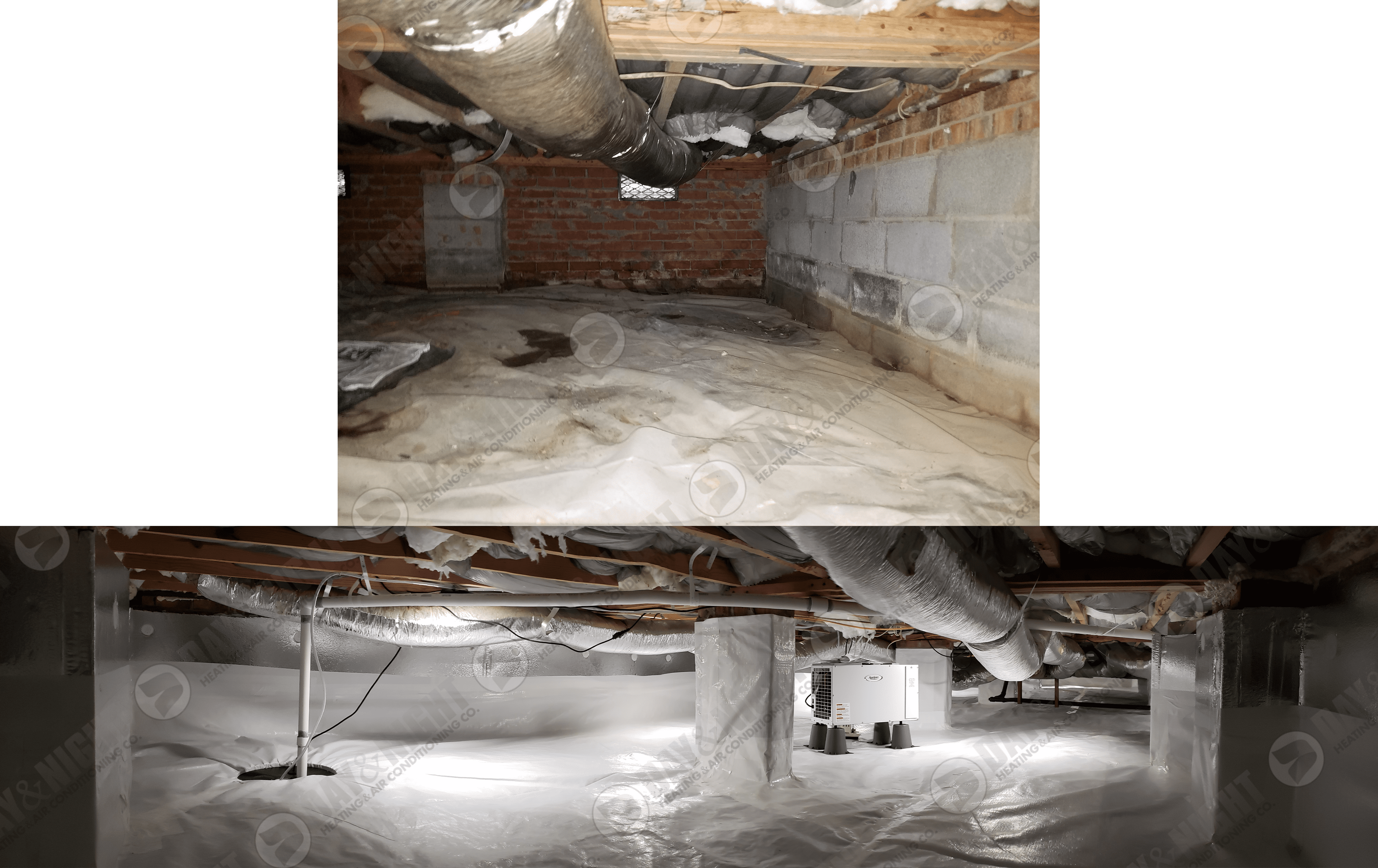 Photo of a crawlspace before and after encapsulation